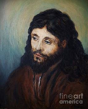 Head of Christ after Rembrandt by Amalia Suruceanu