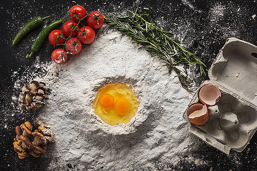 Health food, cooking concept on black background by Valentin Valkov
