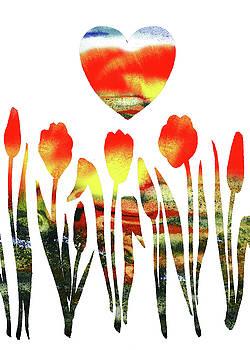 Irina Sztukowski - Heart And Flowers Watercolor