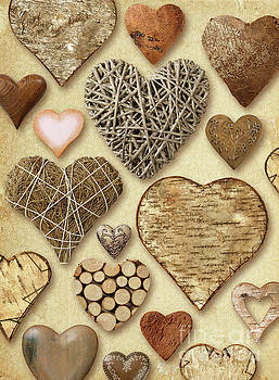 Heart shaped things on vintage paper by Ron Sumners