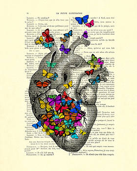 Heart With Rainbow Butterflies by Madame Memento