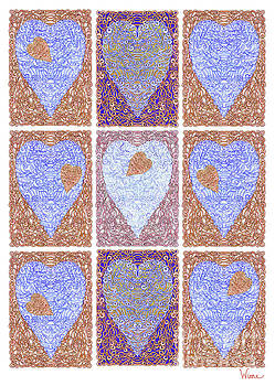 Hearts Within Hearts In Copper and Blue by Lise Winne