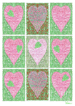 Hearts Within Hearts in Green and Pink by Lise Winne