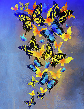 Heavenly Butterflies Contemporary Art by Georgiana Romanovna