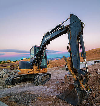 Heavy Machinery Under Long Exposure Summer Blue Hour After Sunset in Caughlin Ranch in Reno, Nevada by Brian Ball