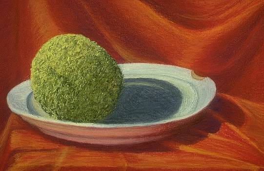 Hedge Apple on a Platter by Mary Erbert