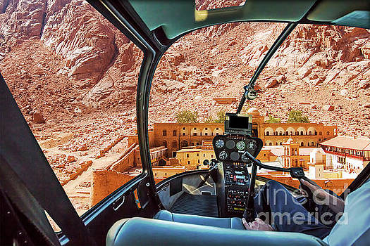 Helicopter on Monastery of St Catherine by Benny Marty