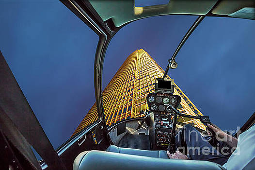 Helicopter on skyscaper facade by Benny Marty