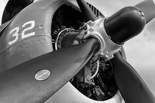 Helldiver Horsepower - Black and White - 2018 Christopher Buff, www.Aviationbuff.com by Chris Buff