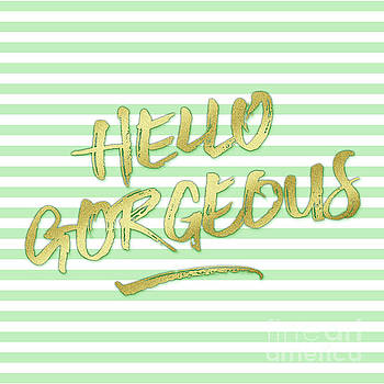 Hello Gorgeous Gold Glitter Mountain Mint Stripes by Beverly Claire Kaiya