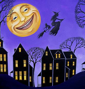 Hello Moon - folk art Halloween witch cat by Debbie Criswell