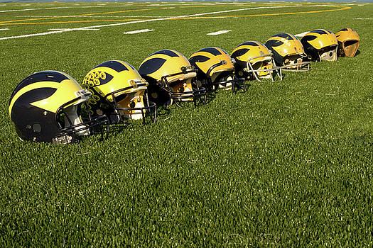 Helmets of Different Eras on the Field by Michigan Helmet