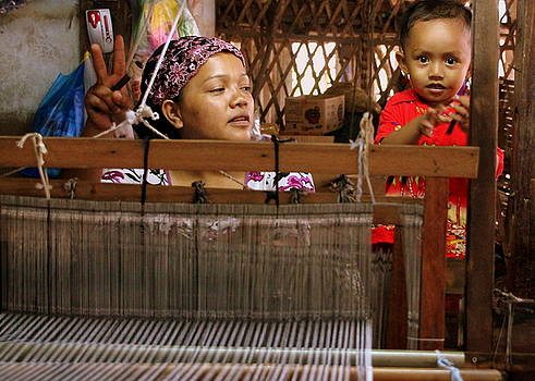 Helping Mom with the Weaving by Laurel Talabere