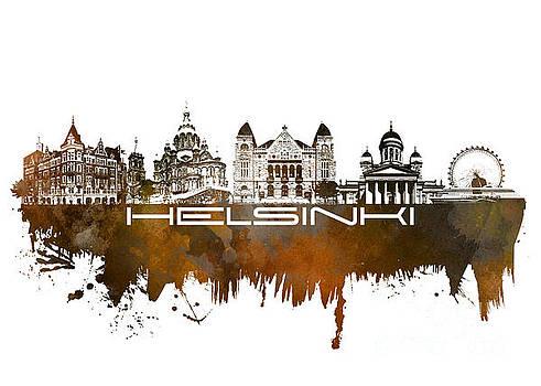Justyna Jaszke JBJart - Helsinki skyline city brown