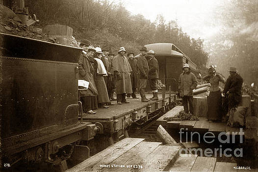 California Views Mr Pat Hathaway Archives - Heney station Sept. 25 1898 men and women on a Flat car White Pass and Yukon Route Railroad Alaska