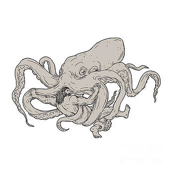 Hercules Fighting Giant Octopus Drawing by Aloysius Patrimonio