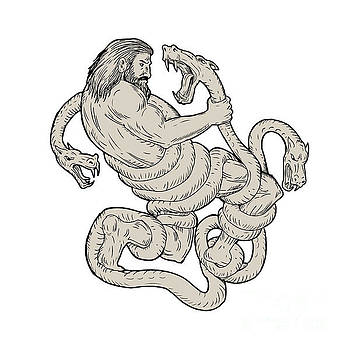 Hercules Fighting  Lernaean Hydra  Drawing by Aloysius Patrimonio