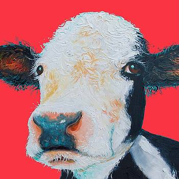 Jan Matson - Hereford Cow painting on red background