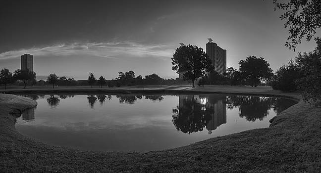 Hermann Park Sunrise Black and White by Joshua House