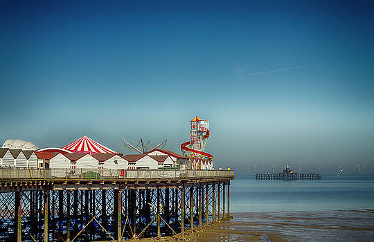 David French - Herne Bay old and new pier Kent