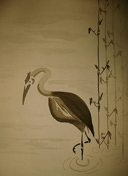 Heron in Sumi-e by Jeff DOttavio