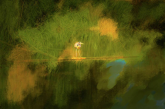 Heron on abstract #h3 by Leif Sohlman