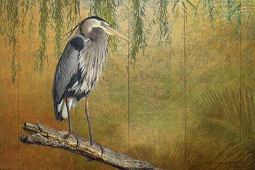 Heron On Goldleaf by R christopher Vest