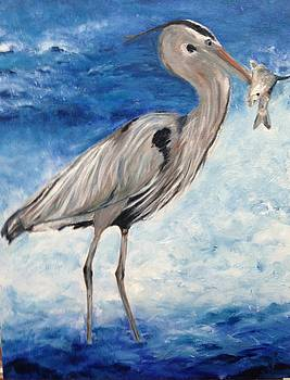 Heron with Fish by Debbie Frame Weibler