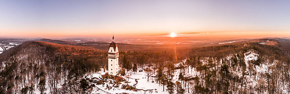 Heublein Tower in Simsbury Connecticut, Winter Sunrise Panorama by Petr Hejl