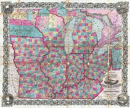 Larry Lamb - Hi res Colton pocket map USA 1854 up to 48 inches wide