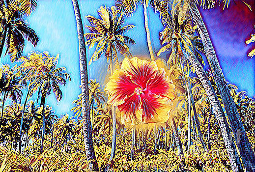 Hibiscus Flower and Palm Trees by Wernher Krutein