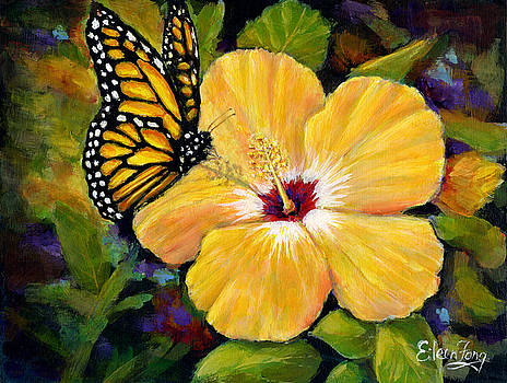 Hibiscus with Monarch by Eileen  Fong