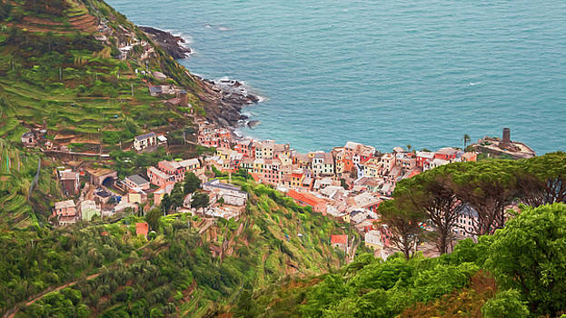 High Above Vernazza Cinque Terre Italy II by Joan Carroll