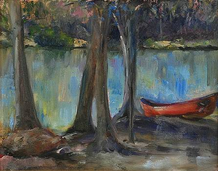 High and Dry Red Canoe by Ann Bailey