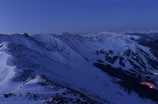 High Country Twilight Panorama - Triptych Center by Mike Berenson
