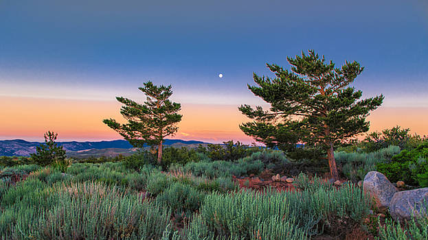 High Desert Landscape at Sunset Looking East With A Full Moon Rising Above the Mountains by Brian Ball