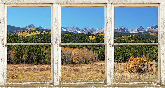 High Elevation Rocky Mountain Peaks White Rustic Panorama Window by James BO Insogna