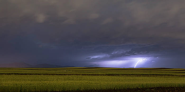 High Plains Lightning Strike Panorama by James BO Insogna