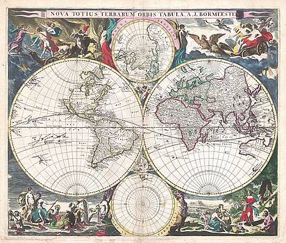 Larry Lamb - High res map of world in 1658 up to 50 inches wide