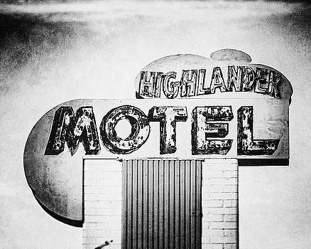 Lisa Russo - Highlander Motel Retro Neon Sign in Black and White