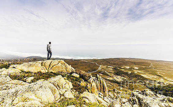 Hiker man on top of a mountain by Jorgo Photography - Wall Art Gallery