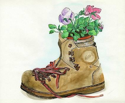 Hiking Boot Flower Pot by Sheryl Heatherly Hawkins