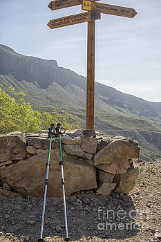 Hiking poles resting near sign by Patricia Hofmeester