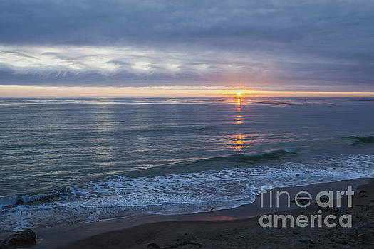 Hills of Clouds with Ocean Sunset by Sharon Foelz