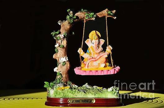 Hindu God-Ganesha on a Swing by Akshay Thaker