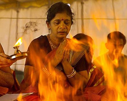 Hindu Woman's  Fire Ceremony by Aimee K Wiles-Banion