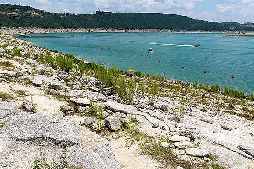 Herronstock Prints - Hippie Hollow Park is a nudist park on Lake Travis the only legally nude sunbathing park inTexass