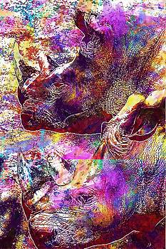 Hippopotamuses Black And White  by PixBreak Art
