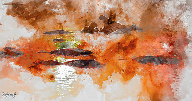 Hippos in a Dam by Petrus Bester