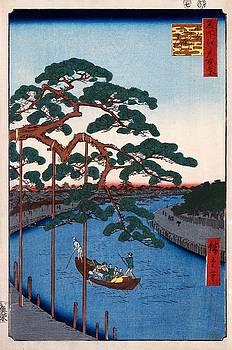 Hiroshige Five pines, Onagi Canal, 1856 by Vintage Printery